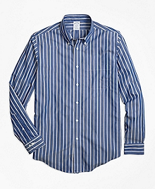 Non-Iron Regent Fit Blue Stripe Sport Shirt
