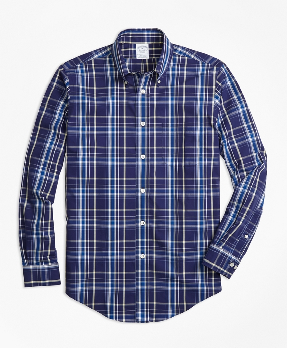 Non-Iron Regent Fit Navy Plaid Sport Shirt