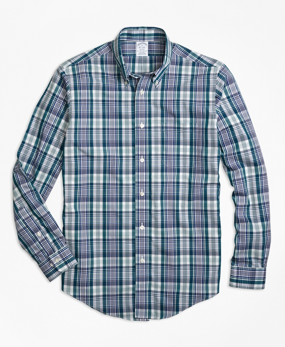Non-Iron Regent Fit Green Plaid Sport Shirt Green