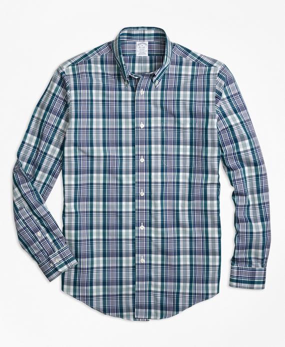 Non-Iron Regent Fit Green Plaid Sport Shirt