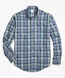 Non-Iron Regent Fit Green Plaid Sport Shirt