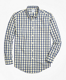 Non-Iron Regent Fit Yellow Check Sport Shirt