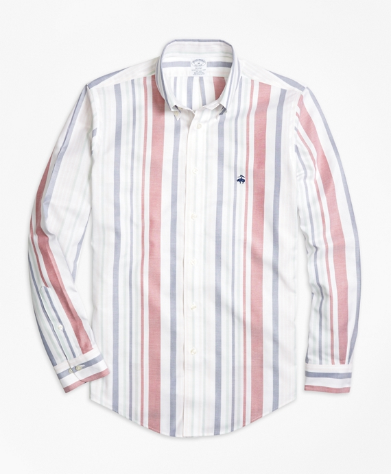 Non-Iron Regent Fit Awning Stripe Sport Shirt White Multi