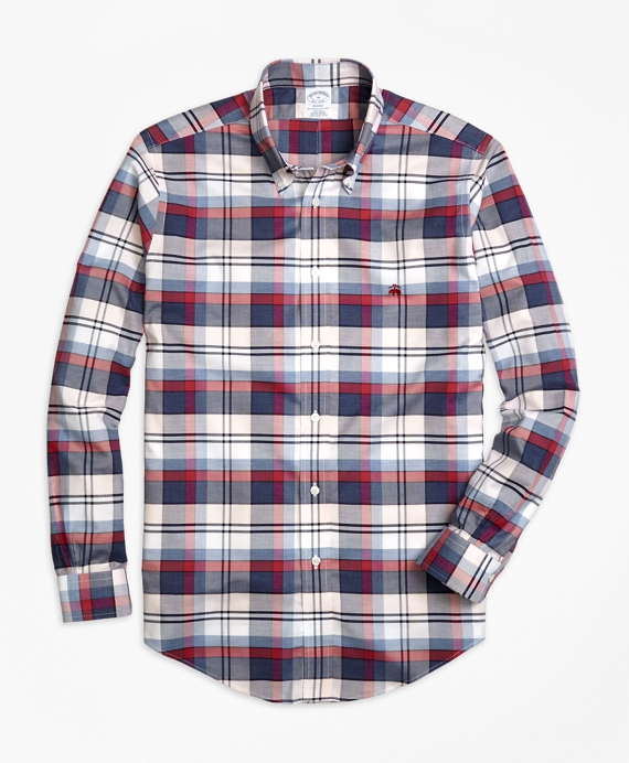 Non-Iron Regent Fit Heathered Plaid Sport Shirt Navy-Red