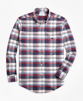 Non-Iron Regent Fit Heathered Plaid Sport Shirt