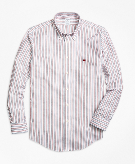 Non-Iron Regent Fit Vintage Stripe Sport Shirt Red