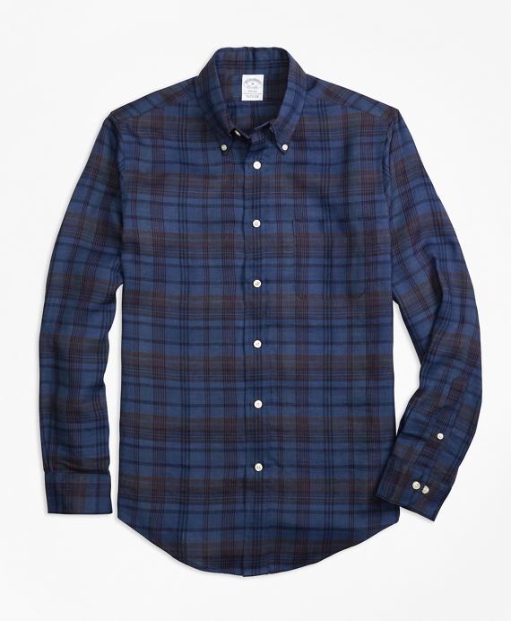Regent Fit Plaid Irish Linen Sport Shirt Navy