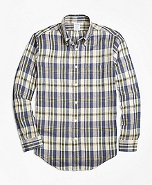 Regent Fit Large Plaid Irish Linen Sport Shirt