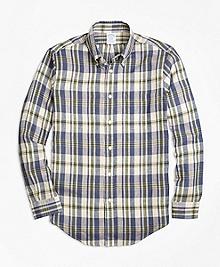 Regent Fit Large Plaid Irish Linen Sport Shirt