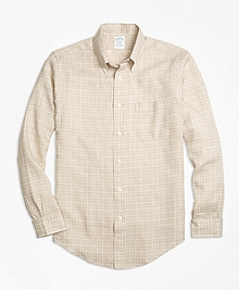 Regent Fit Check Irish Linen Sport Shirt
