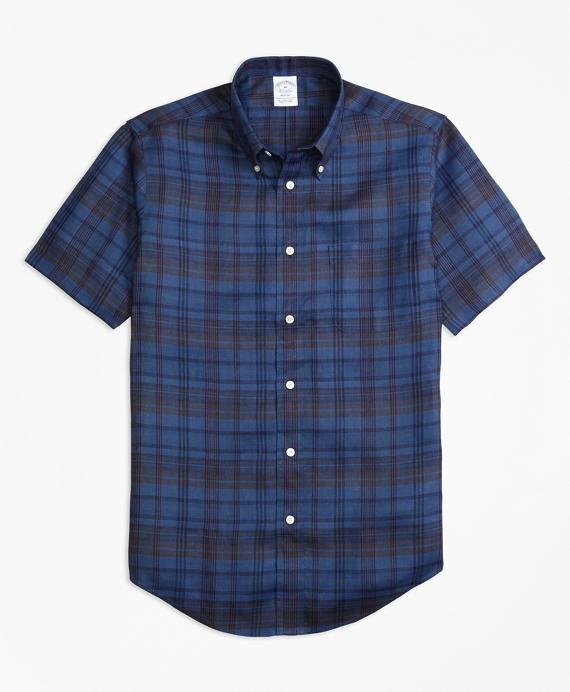 Regent Fit Plaid Irish Linen Short-Sleeve Sport Shirt Navy