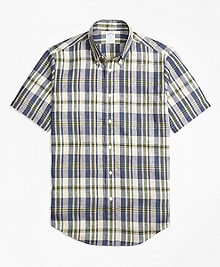Regent Fit Large Plaid Irish Linen Short-Sleeve Sport Shirt