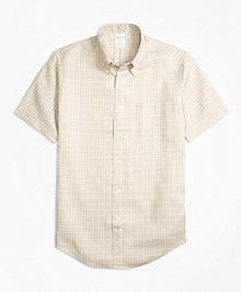 Regent Fit Check Irish Linen Short-Sleeve Sport Shirt