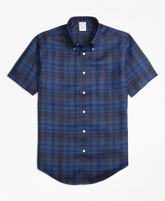 Madison Fit Plaid Irish Linen Short-Sleeve Sport Shirt