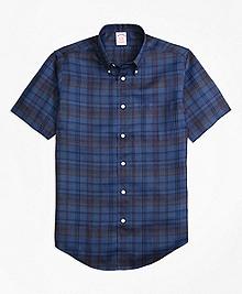 Madison Fit Plaid Irish Linen Short-Sleeve Sport Shirt