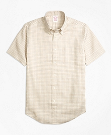 Madison Fit Check Irish Linen Short-Sleeve Sport Shirt