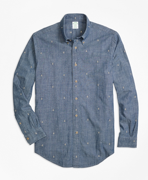 Milano Fit Anchor Embroidered Indigo Chambray Sport Shirt
