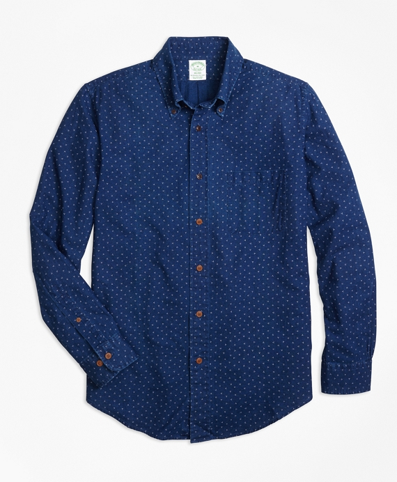 Milano Fit Indigo Printed Dot Sport Shirt