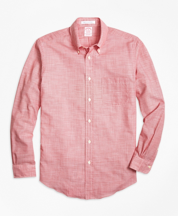 Madison Fit Houndstooth Sport Shirt Red