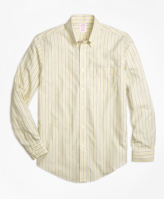 Non-Iron Madison Fit Yellow Stripe Sport Shirt Yellow