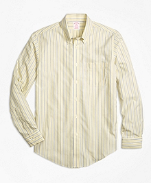 Non-Iron Madison Fit Yellow Stripe Sport Shirt