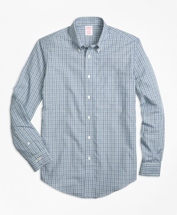 Non-Iron Madison Fit Green Check Sport Shirt Green