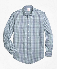 Non-Iron Madison Fit Green Check Sport Shirt