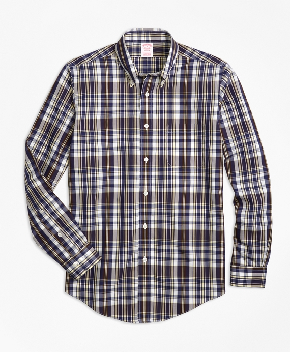 Non-Iron Madison Fit Plaid Sport Shirt Brown