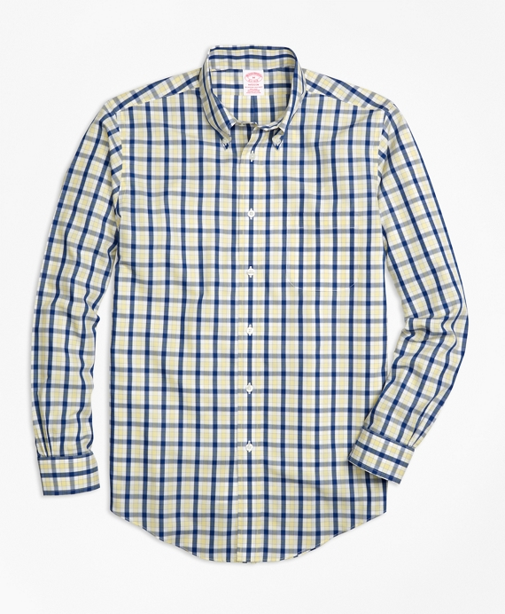 Non-Iron Madison Fit Yellow Check Sport Shirt