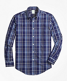 Non-Iron Milano Fit Navy Plaid Sport Shirt