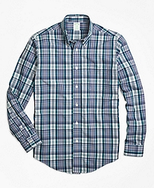 Non-Iron Milano Fit Green Plaid Sport Shirt