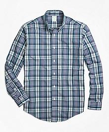 Non-Iron Milano Fit Green Plaid Sport Shirt