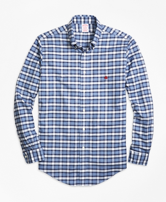 Non-Iron Madison Fit Heathered Check  Sport Shirt