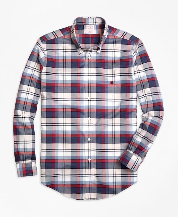 Non-Iron Madison Fit Heathered Plaid Sport Shirt
