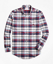 Non-Iron Madison Fit Heathered Plaid Sport Shirt