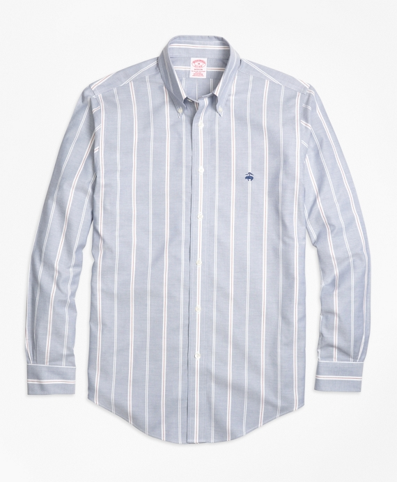 Non-Iron Madison Fit Wide Stripe Sport Shirt Blue