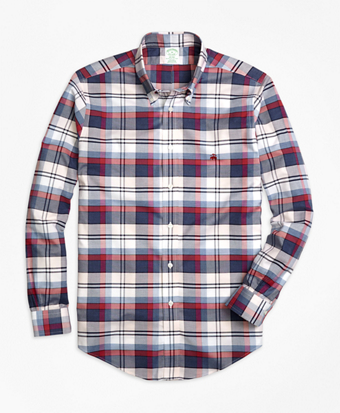Non-Iron Milano Fit Heathered Plaid Sport Shirt
