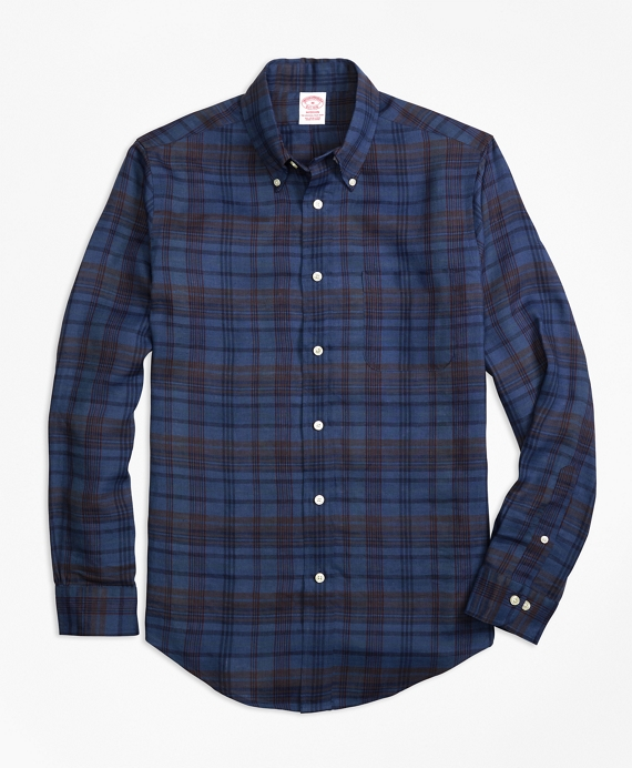 Madison Fit Plaid Irish Linen Sport Shirt