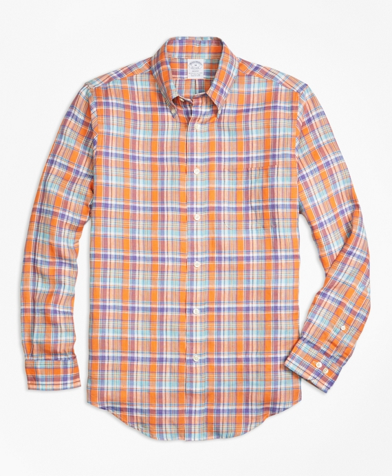 Regent Fit Orange Plaid Irish Linen Sport Shirt
