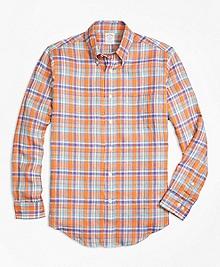 Regent Fit Orange Plaid Irish Linen Sport Shirt