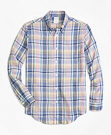 Regent Fit Lavender Plaid Irish Linen Sport Shirt