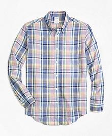 Regent Fit Lavender Plaid Irish Linen Sport Shirt
