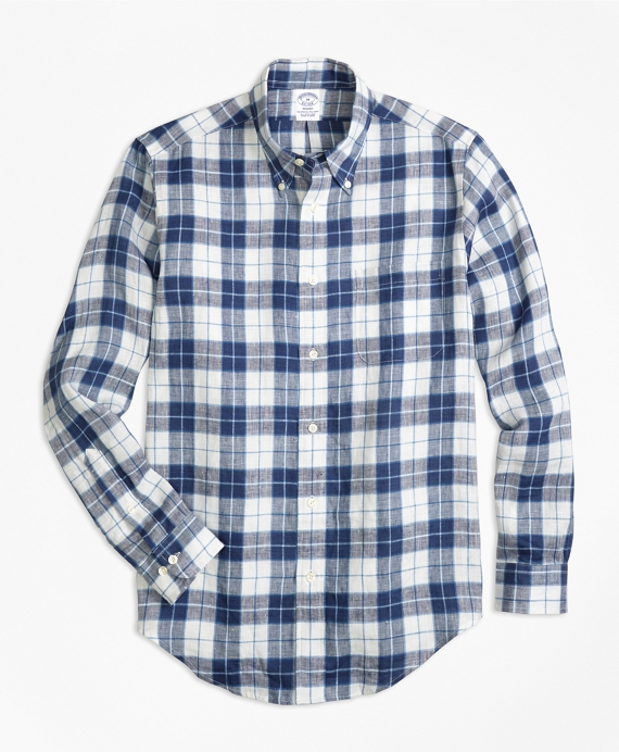 Regent Fit Grid Check Irish Linen Sport Shirt Indigo