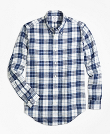 Regent Fit Grid Check Irish Linen Sport Shirt