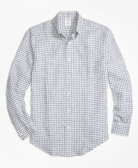 Regent Fit Windowpane Irish Linen Sport Shirt Indigo