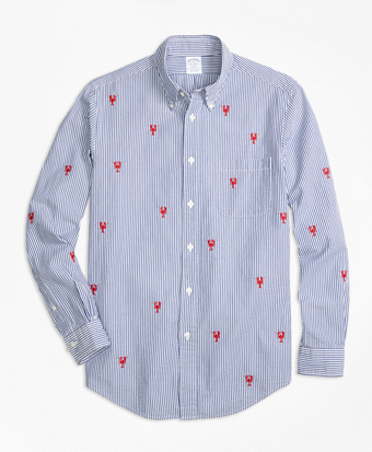 Regent Fit Seersucker with Lobsters Sport Shirt