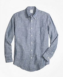 Regent Fit Dot Irish Linen Sport Shirt