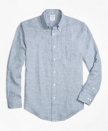 Regent Fit Gingham Irish Linen Sport Shirt