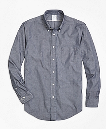 Regent Fit Selvedge Indigo Stripe Sport Shirt