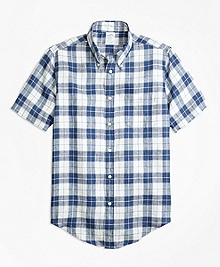 Regent Fit Grid Check Irish Linen Short-Sleeve Sport Shirt